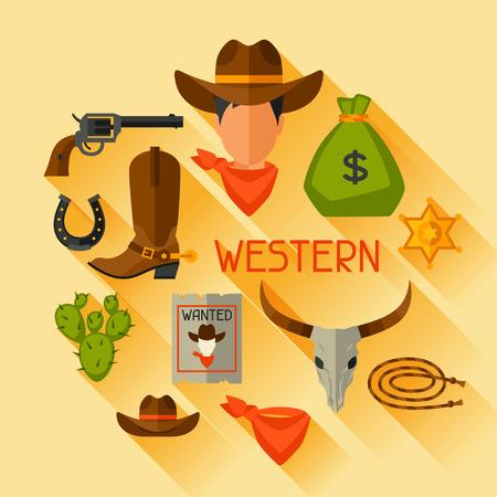 vaquero: Objetos de vaquero del oeste y elementos de dise�o Salvaje Vectores