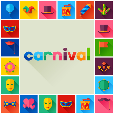 Celebration festive background with carnival flat icons and objects Illustration