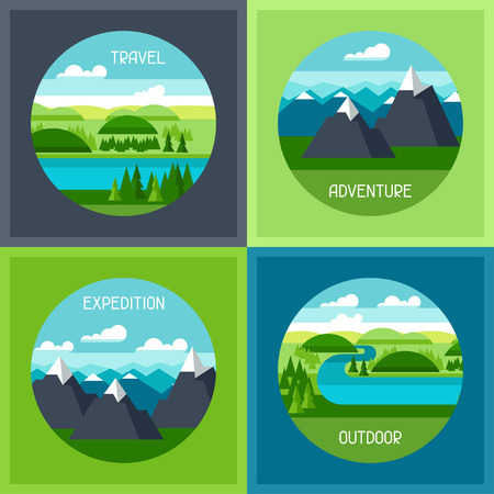 Backgrounds with illustration of mountain and river landscape