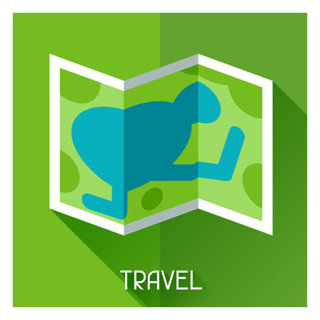 Tourist creative illustration of map in flat style Vector
