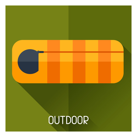 padded: Tourist creative illustration of sleeping bag in flat style