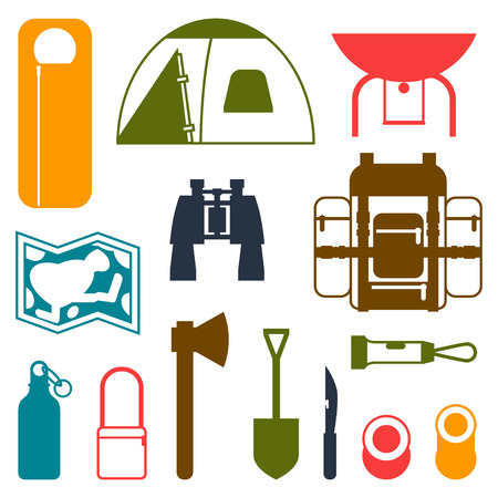 camping equipment: Tourist set of camping equipment icons in flat style