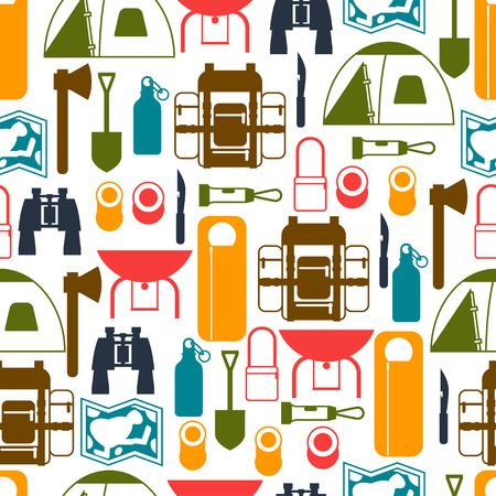 camping equipment: Tourist seamless pattern with camping equipment in flat style