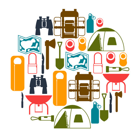 camping equipment: Tourist background with camping equipment in flat style