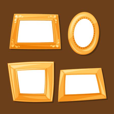 marco madera: Conjunto de varios marcos de oro sobre fondo marr�n