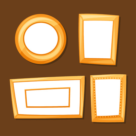 border cartoon: Set of gold various frames on brown background
