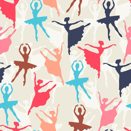 Seamless pattern of ballerinas silhouettes in dance poses