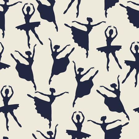 zapatillas ballet: Patrón transparente de bailarinas siluetas en poses de baile
