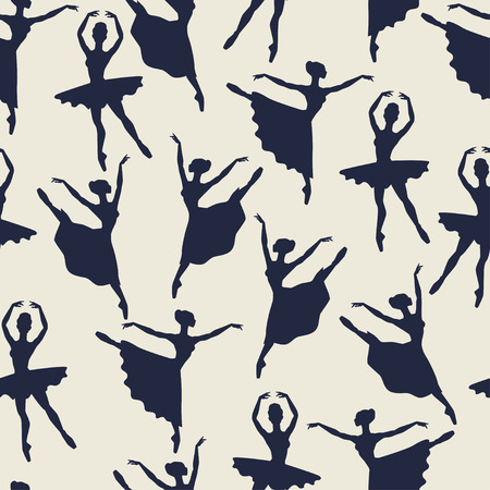 tiptoe: Seamless pattern of ballerinas silhouettes in dance poses