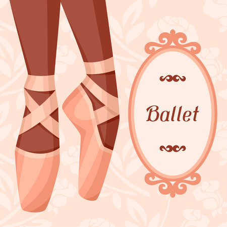 tiptoe: Invitation card to ballet dance show with pointe