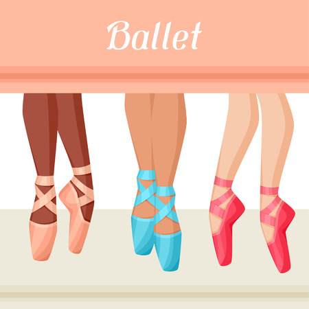 ballerina silhouette: Invitation card to ballet dance show with pointe