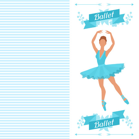 pointe: Invitation card to ballet dance show with ballerina.