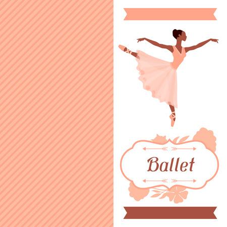 ballet studio: Invitation card to ballet dance show with ballerina.