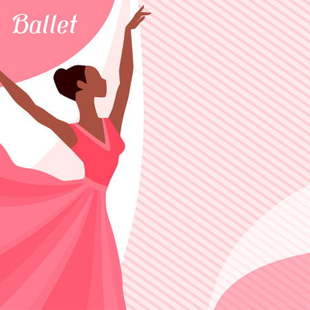 Invitation card to ballet dance show with ballerina Illustration