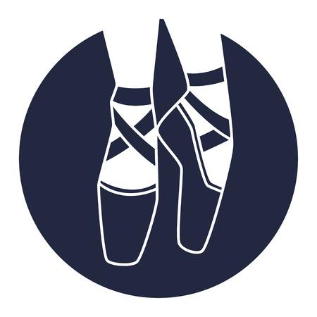 Emblem of dance studio with ballet pointe shoes Illustration