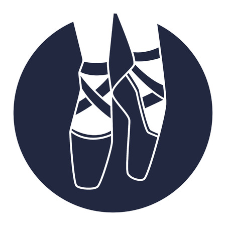 woman shoes: Emblem of dance studio with ballet pointe shoes Illustration