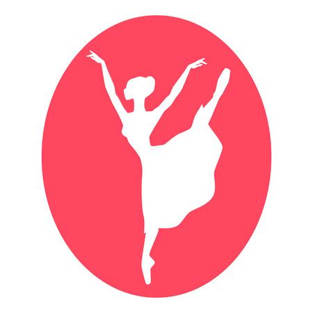 ballerina silhouette: Emblem of dance ballet studio with ballerina silhouette.
