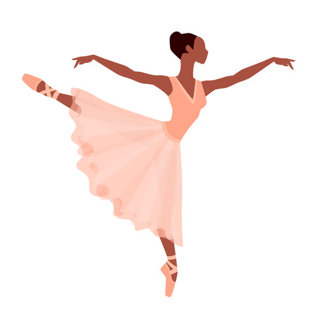 ballet slippers: Stylized silhouette of ballerina in dress on white background.