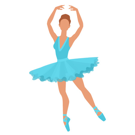 tiptoe: Stylized silhouette of ballerina in dress on white background.
