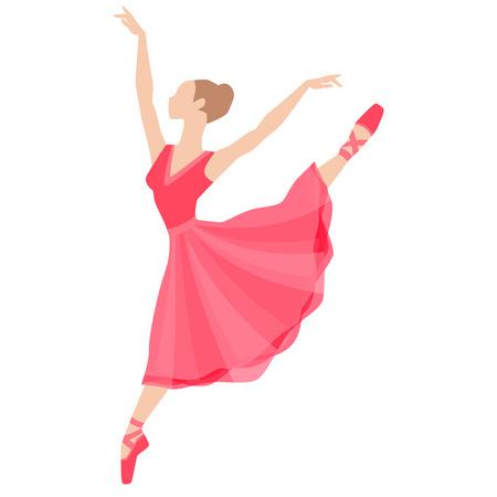 ballet studio: Stylized silhouette of ballerina in dress on white background.