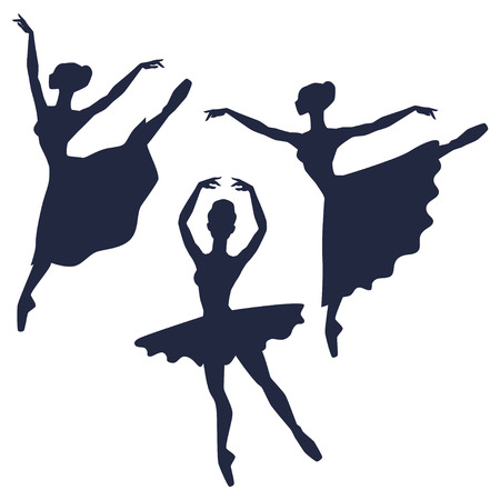 Set of ballerinas silhouettes on white background.