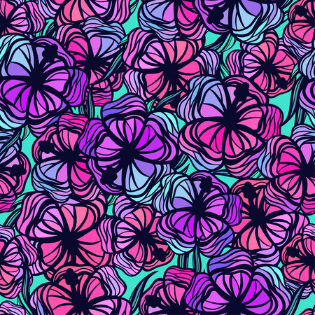 Seamless pattern with stylized colored tropical flowers. Vector