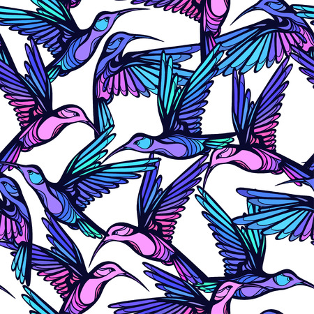 feathering: Flying tropical colorful hummingbirds with flowers seamless pattern. Illustration