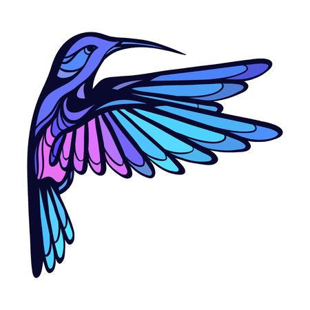 Flying tropical stylized hummingbird on white background. Illustration