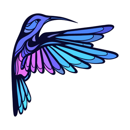 Flying tropical stylized hummingbird on white background. Vectores