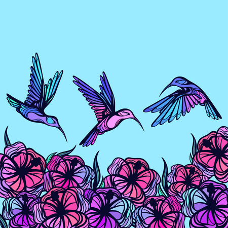 hummingbird: Flying tropical stylized hummingbirds with flowers background.