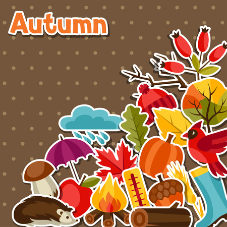 shoe print: Background design with autumn sticker icons and objects.