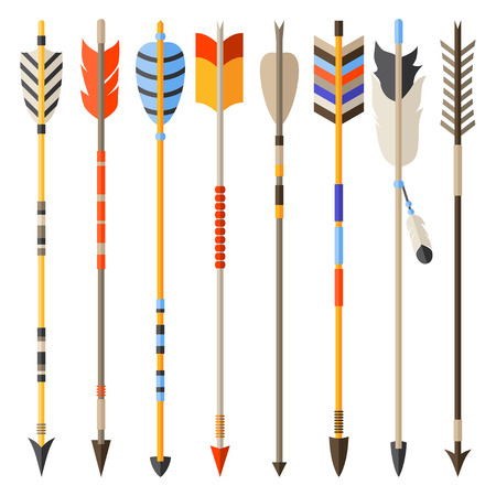indian weapons: Ethnic set of indian arrows in native style.