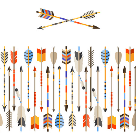 eagle feather: Ethnic seamless pattern with indian arrows in native style.