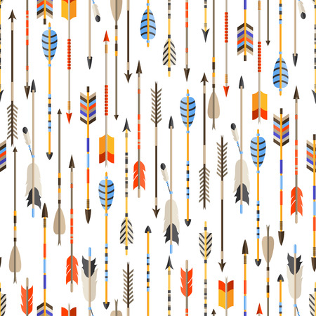 native bird: Ethnic seamless pattern with indian arrows in native style.