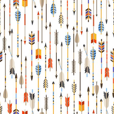 Etnische naadloze patroon met Indiase pijlen in inheemse stijl. Stock Illustratie