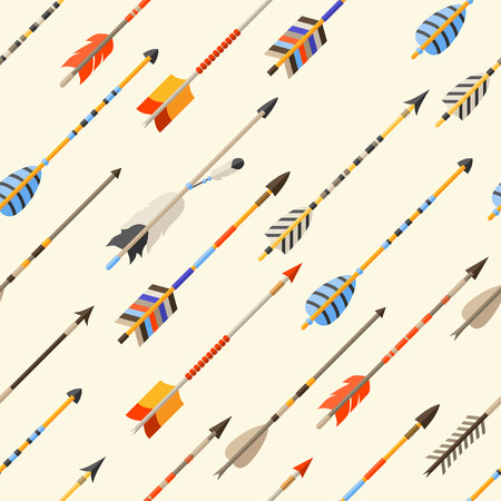 weapon: Ethnic seamless pattern with indian arrows in native style.