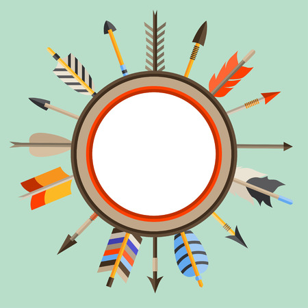 Ethnic background with indian arrows in native style. Illustration