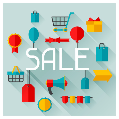 sale icons: Background with sale and shopping icons in flat design style.