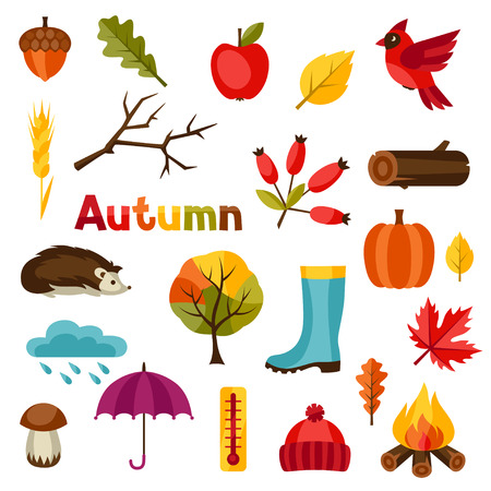 hedgehog: Autumn icon and objects set for design.