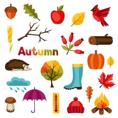 meteo: Insieme dell'icona di autunno e oggetti impostati per il design.