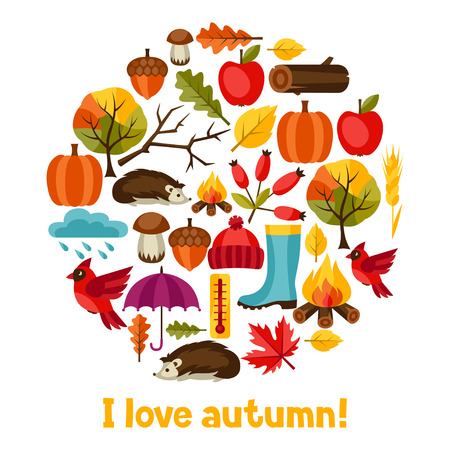 acorn tree: Background design with autumn icons and objects.