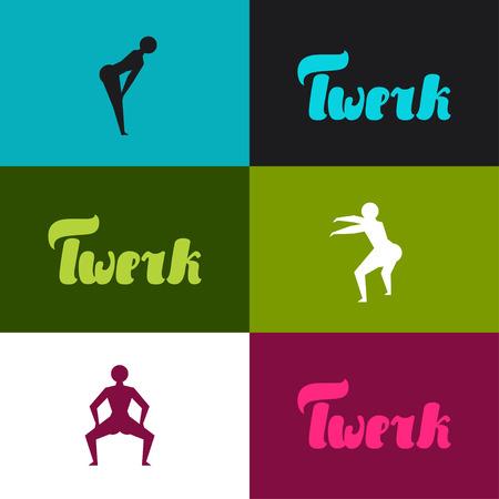 baile latino: Twerk y la danza botín de fondo para el estudio de baile. Vectores