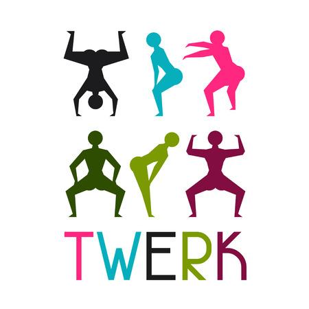 rump: Twerk and booty dance background for dancing studio.