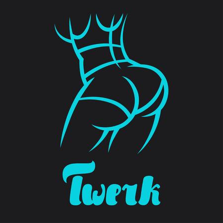 swag: Twerk and booty dance illustration for dancing studio. Illustration