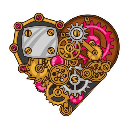 Steampunk hart collage van metalen tandwielen in doodle stijl.