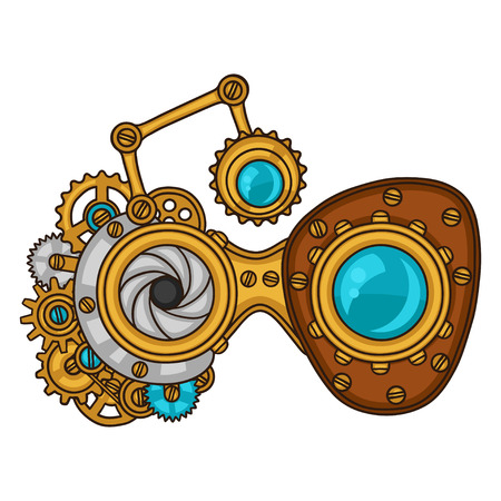 time machine: Steampunk glasses collage of metal gears in doodle style.