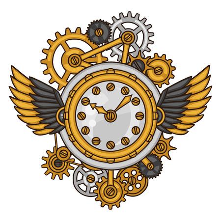 maquina vapor: Collage del reloj de Steampunk de engranajes de metal en el estilo de dibujo.