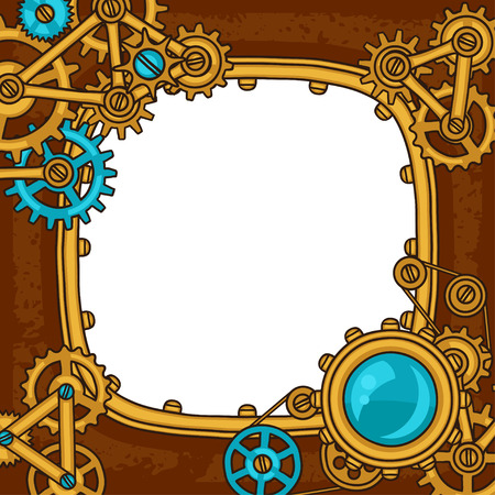 steampunk: Steampunk frame collage of metal gears in doodle style.