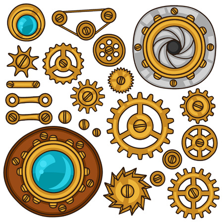 steampunk: Set of steampunk gears, screws and cogwheels in doodle style.