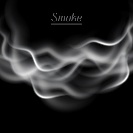 black smoke: Realistic vector illustration of smoke on black background. Illustration